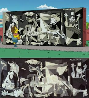 Versión de Los Simpsons del Gernika de Picasso