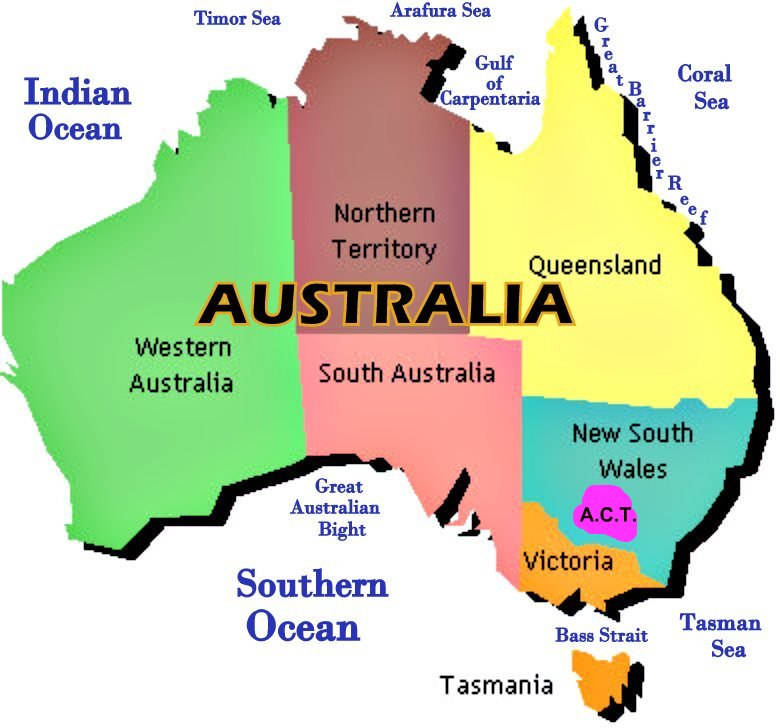 Map Of Australia Showing States - Map of australia with cities
