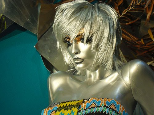 I love the mannequin's silver hair and skin, and amazing eye makeup.