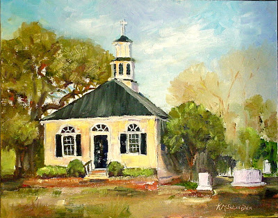 Paint charleston daily painting colonial christ church christ church was built in colonial times on the old kings highway in honor of king charles of england today the road beside the church has become busy sciox Images