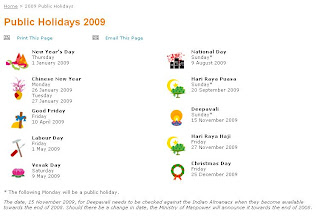 2009 singapore public holidays  for those who are already planning their