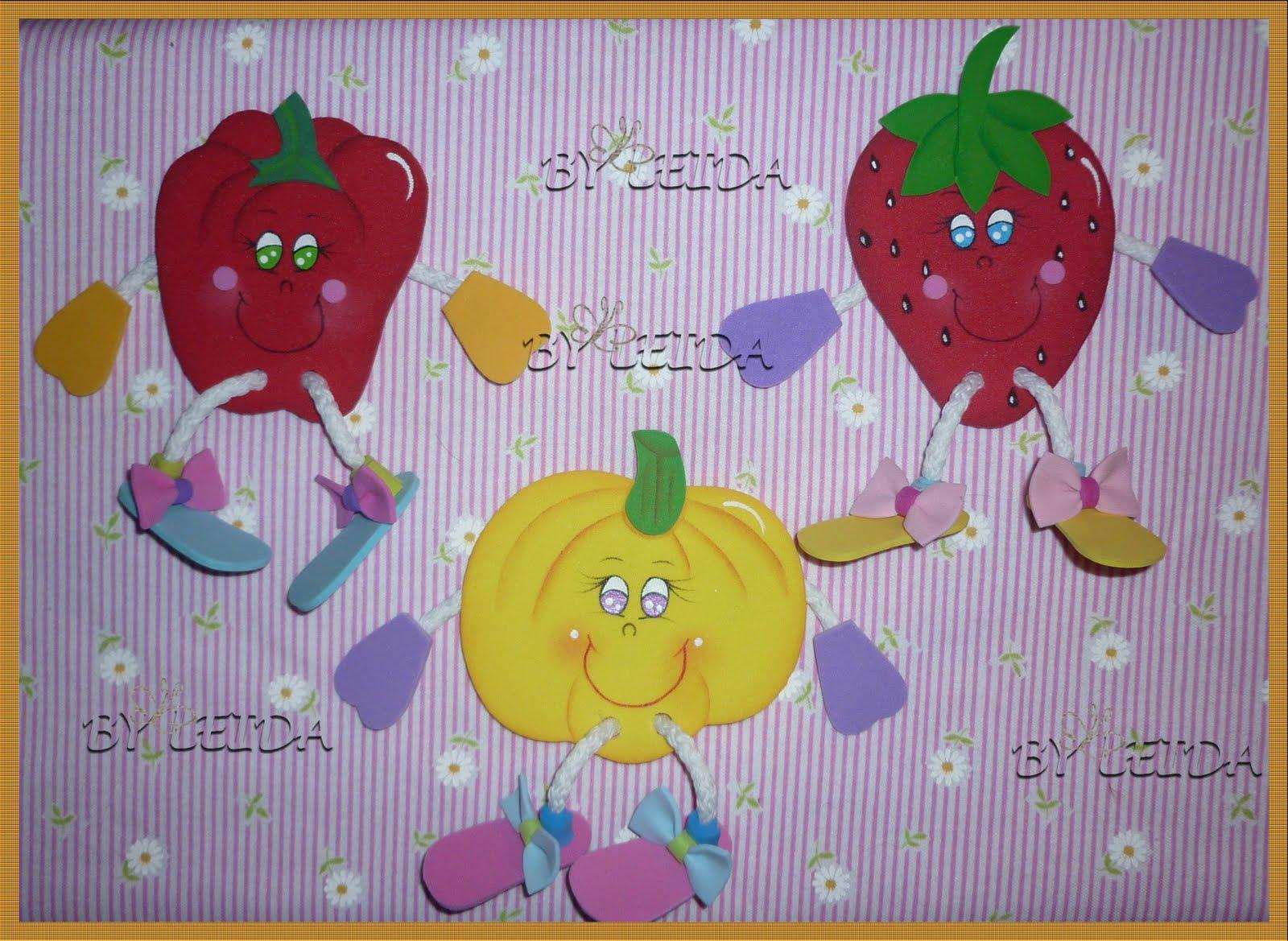 Moldes frutas en foami para la nevera - Imagui