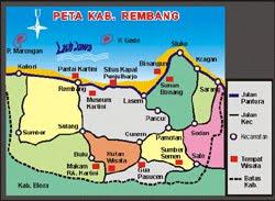 Peta Kab Rembang dan Tempat Wisata