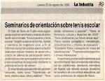 EL TENIS ESCOLAR, CLAVE DEL DESARROLLO