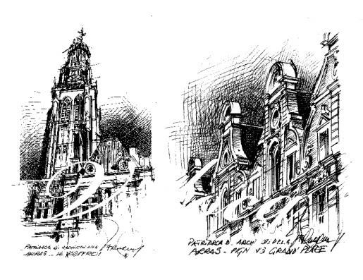 Traits dessins arras le beffroi pignons grand 39 place - 4 murs arras ...