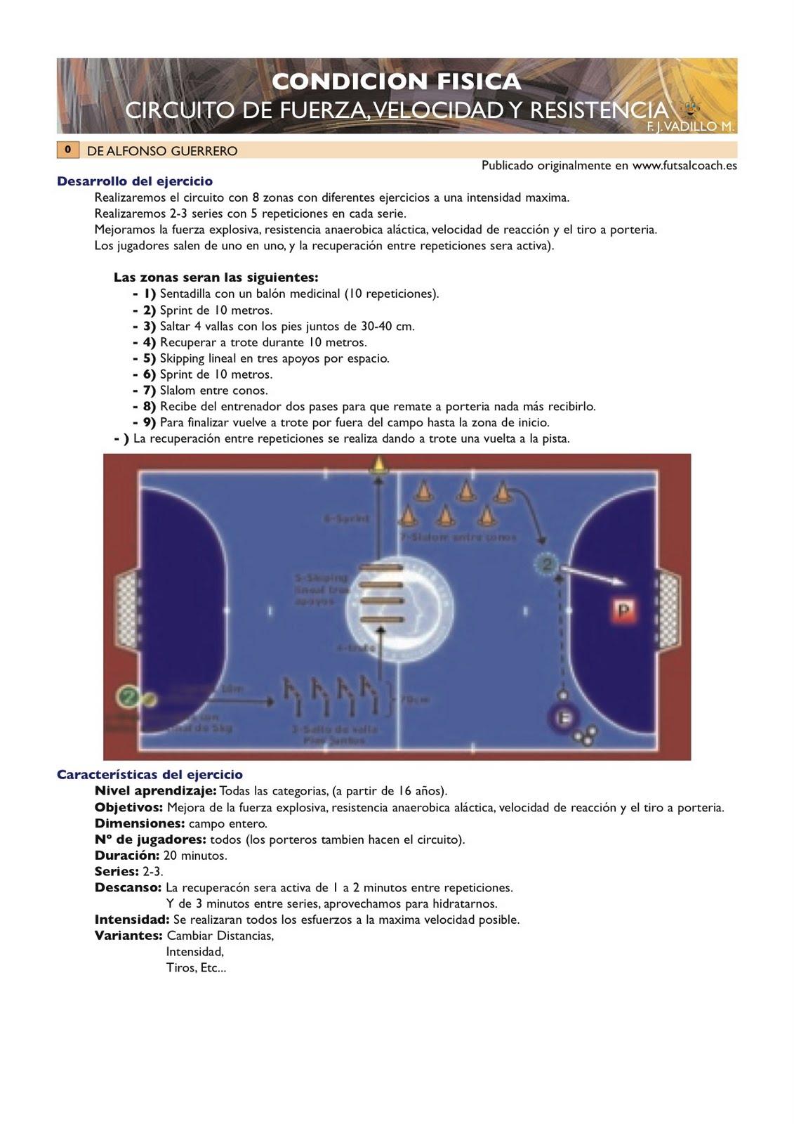 Circuito Fuerza Resistencia : Entrenador de fútbol sala monitor circuito