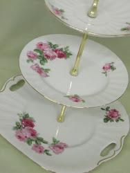 Vintage plates cake stands