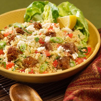 LEBANESE RECIPES: Tabbouleh-Style Couscous with Veggie Burgers Recipe