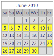 Old-style holiday booking calendar for our Brittany Gite