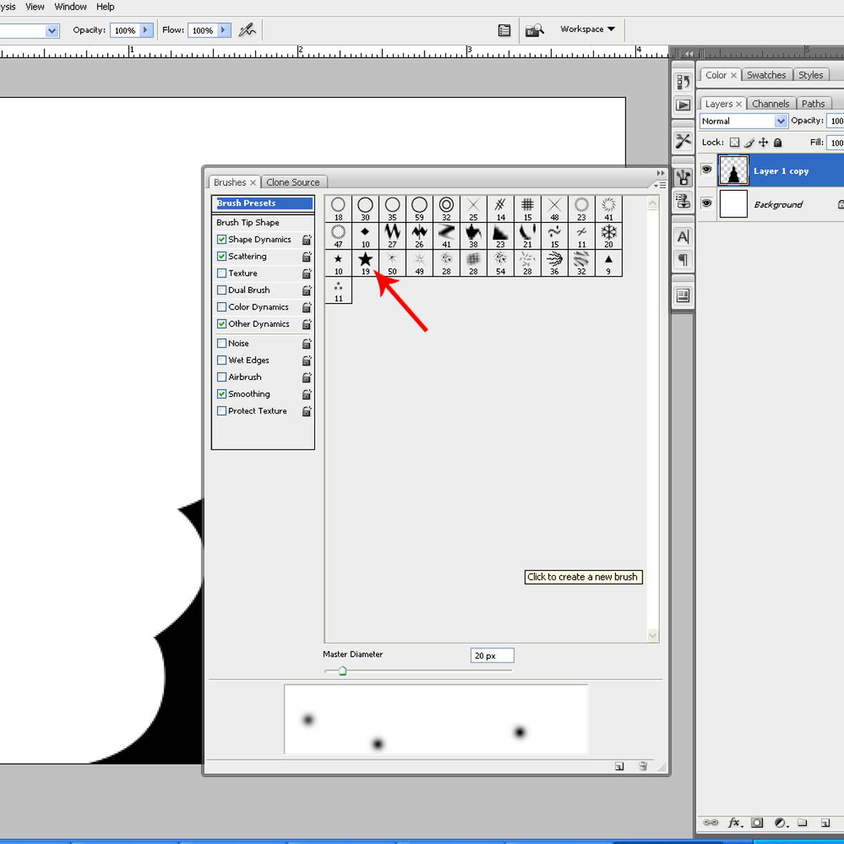 Creative layer one stop creative design resource 120610 step 3 using brush tool to brush the start which is related to christmas theme and adjust with below option biocorpaavc