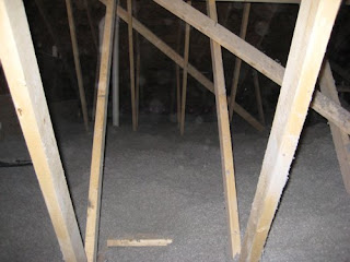 picture of cellulose insulation in attic