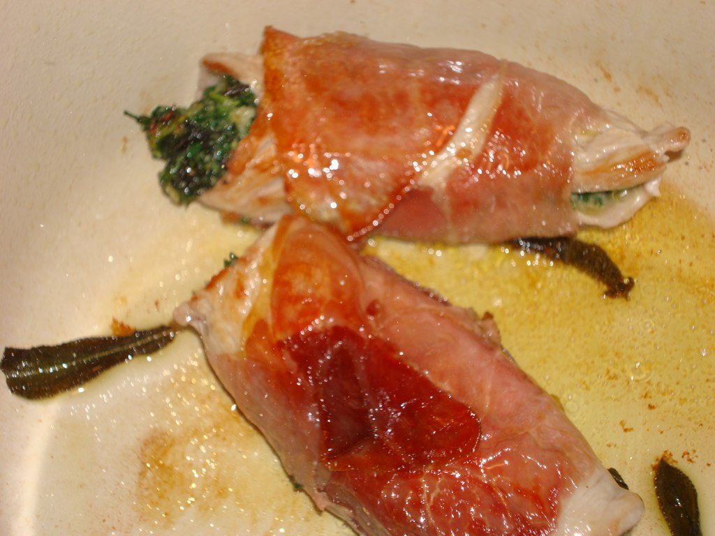 ... Already?: Stuffed Veal Saltimbocca and Spicy Braised Escarole (Week 4