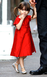 Suri Cruise Red Dress Silver Shoes