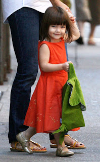 Suri Cruise Orange Dress Gold Shoes