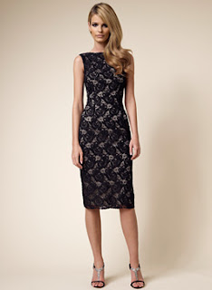 David Meister Black Re-embroidered Lace U Back Sheath