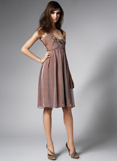 David Meister Haze Chiffon Cocktail Dress with Baroque Necklace