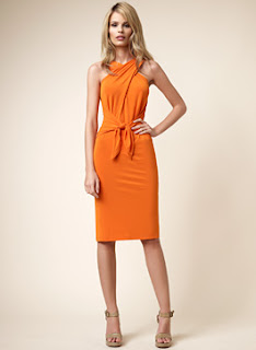 David Meister Tangerine Jersey Halter Dress