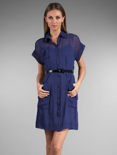 Charlotte Ronson Belted Pockets Dress in Cobalt