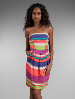 Shoshanna Serrapi Stripe Strapless Dress in Multi