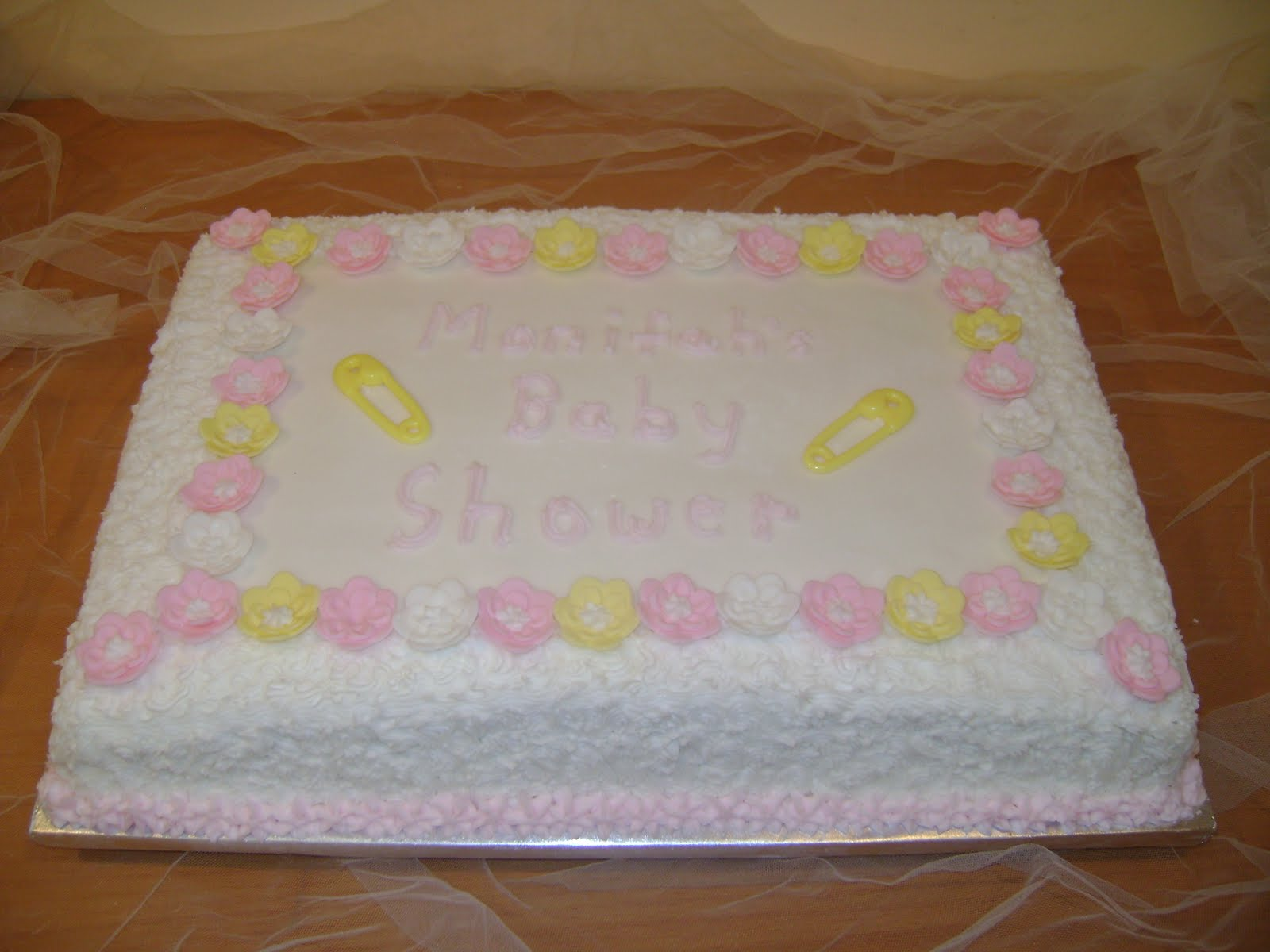 Marilyns Caribbean Cakes Pink Yellow White Baby Shower Cake