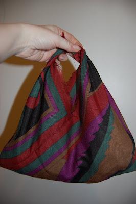 scarf into handbag example