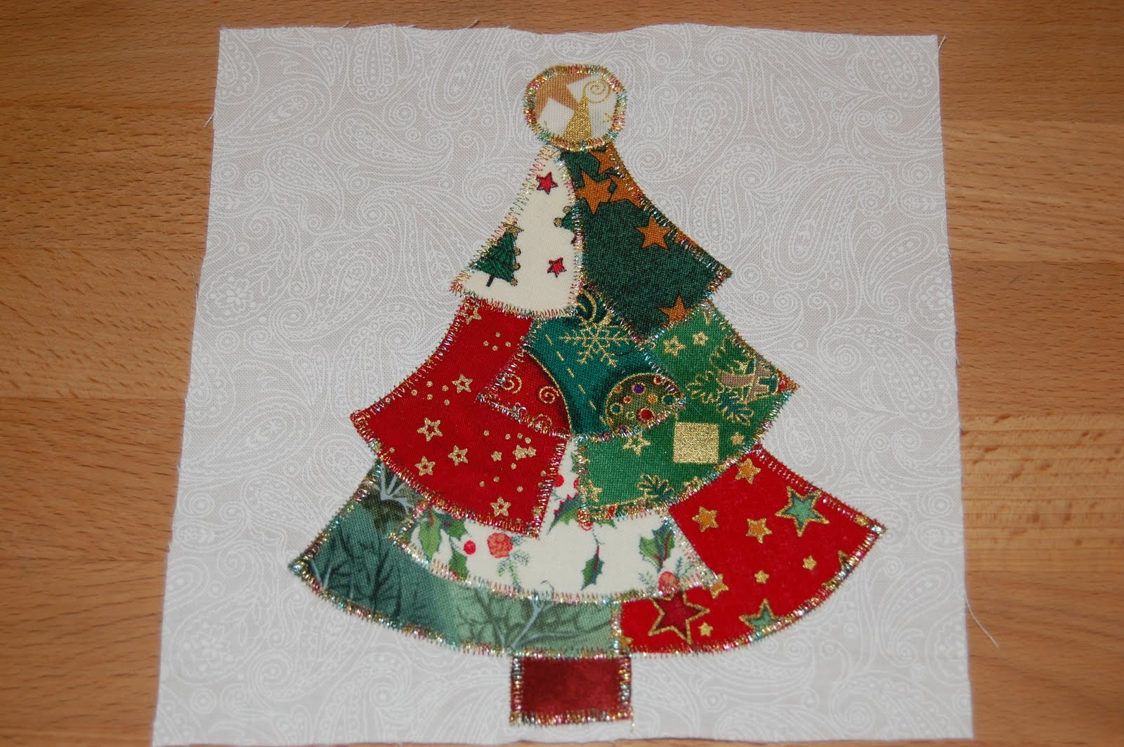 Indigo blue christmas tree quilt block
