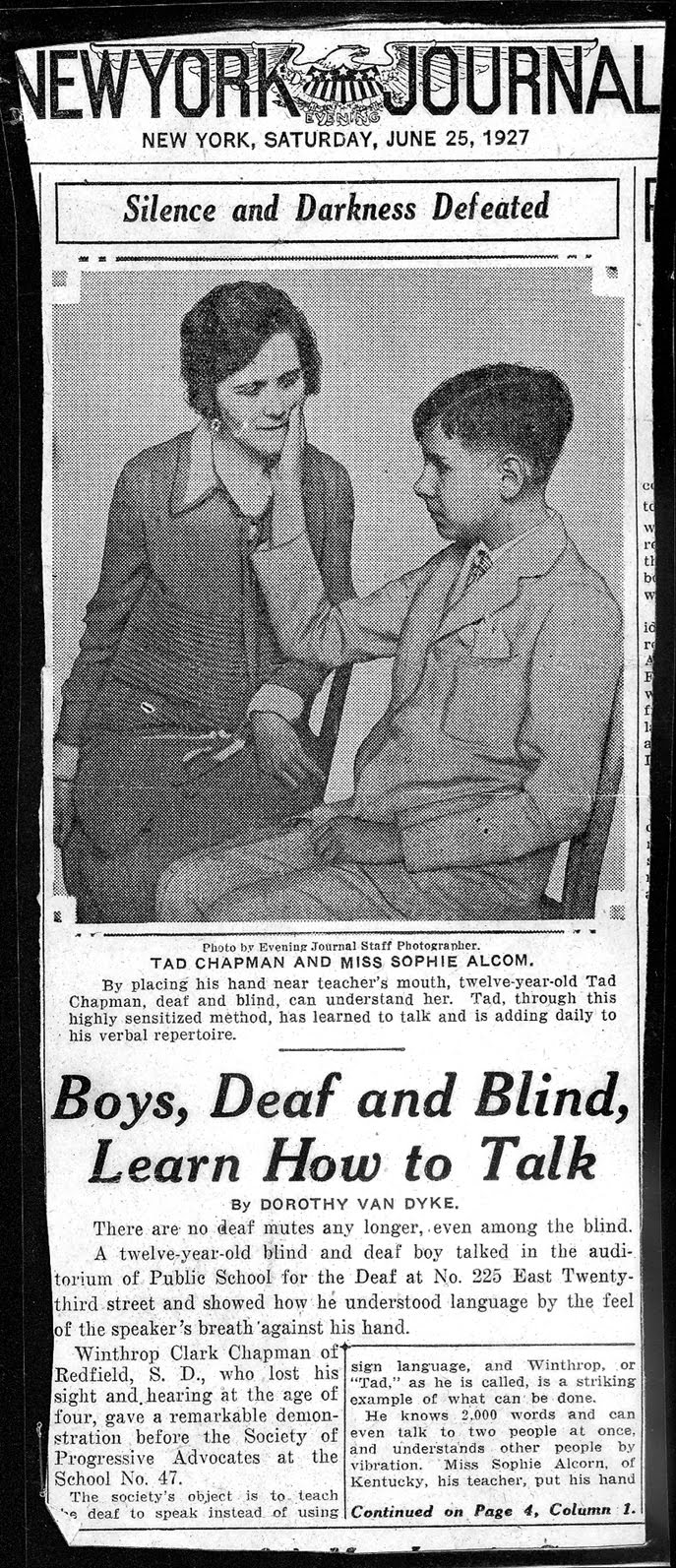 Newspaper clipping of Tad Chapman and Sophia Alcorn