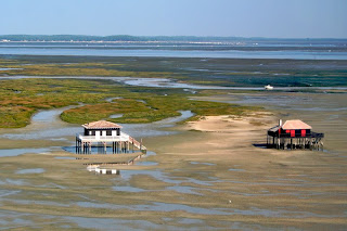 Shacks on stilts in the Arcachon Bay