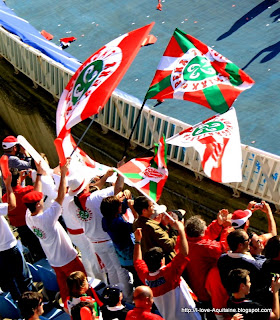 Biarritz team flags after the won