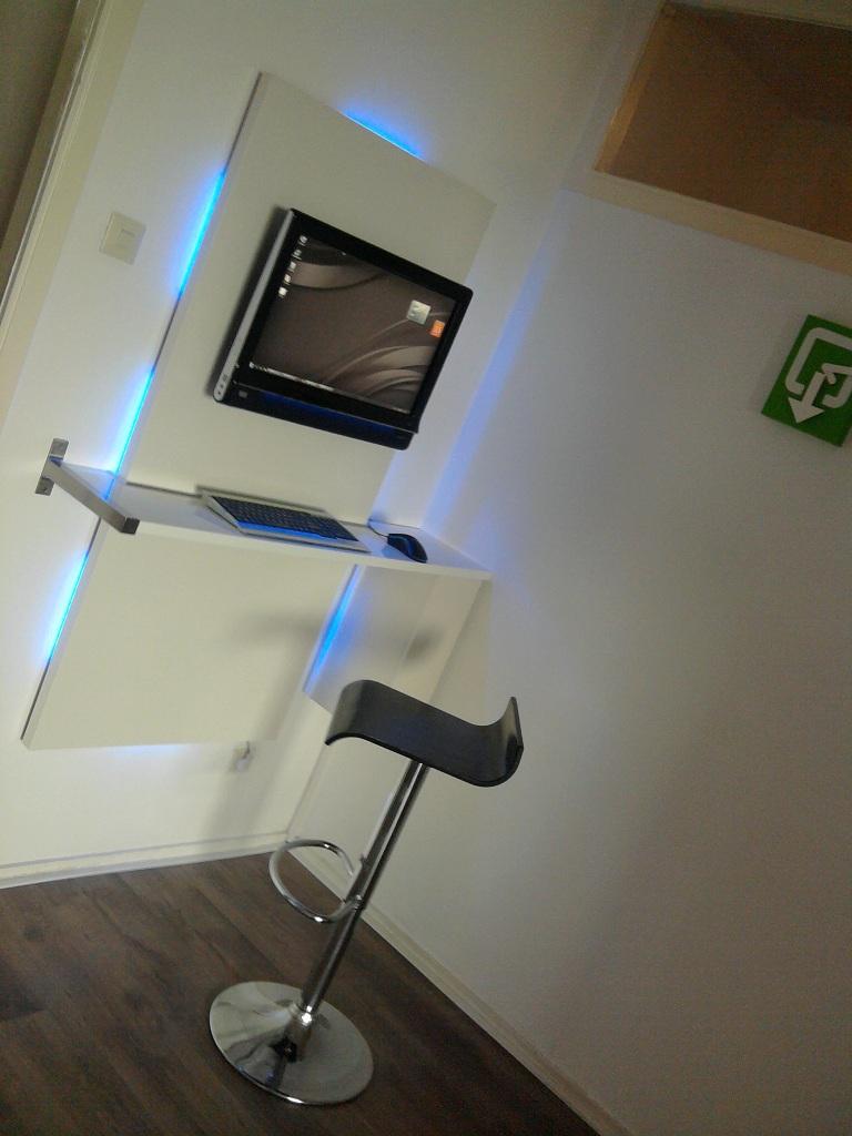 Ikea hacker wall mount computer workstation pc desk for Wall mounted desk ikea