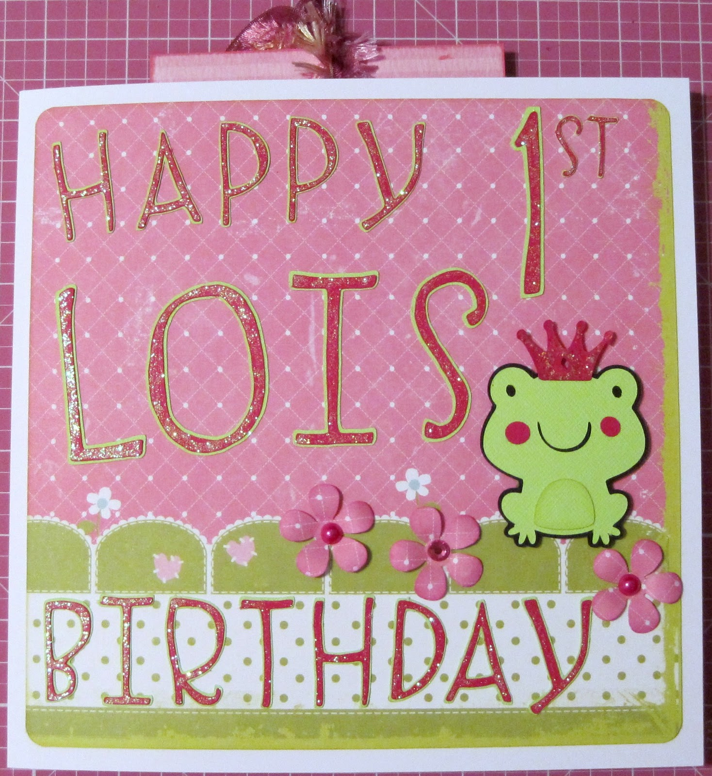 Linda's Cards And Pages: Lois' 1st Birthday Keepsake Card