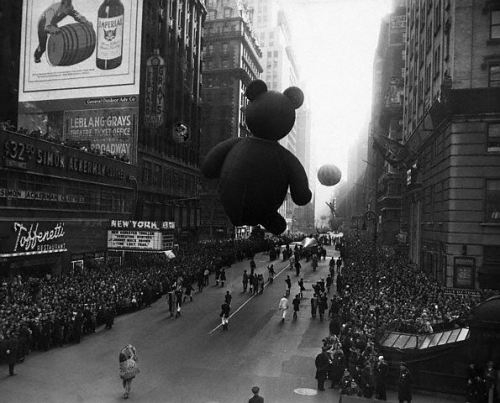 1956 Manhattan NY Photo Taken At The Macys Thanksgiving Day Parade In New York City Shows Crowd Watching Behind A Police Barricade And Children