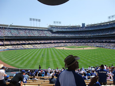 LA Dodgers Stadium, left field bleachers, baseball game
