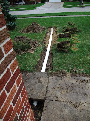 dig trench for roof drain, gutter, rain water