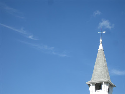 church steepel, cross, weather vane, blue sky