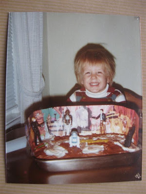 star wars birthday cake, 1983, haircut, han solo, luke skywalker, r2d2, lando calrissian