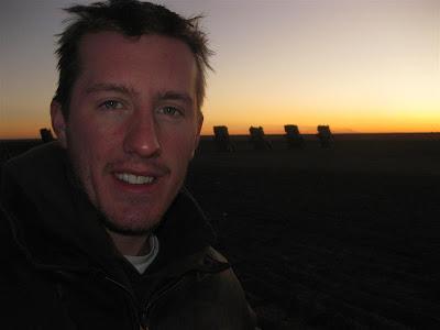 cadillac ranch at sunset, texas