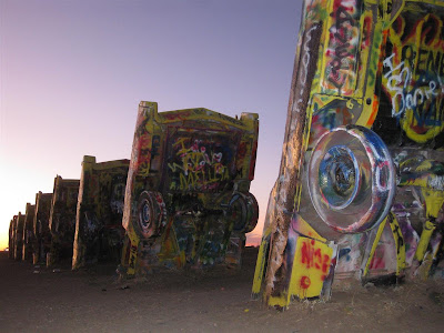 cadillac ranch, cars, stop, sunset