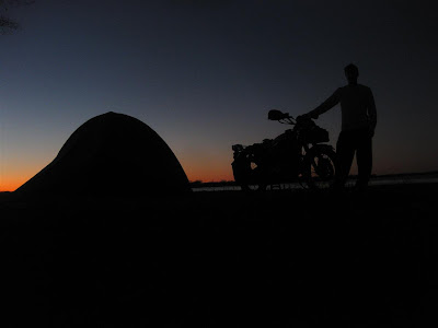 cross country motorcycle trip, night, camping, silhouette