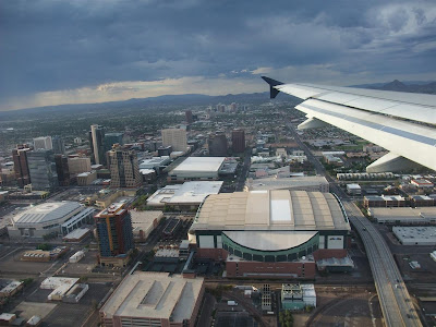 flying into downtown phoenix, stadium, airport