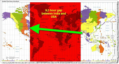 India USA time gap