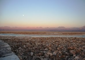 Setting sun over the Salar