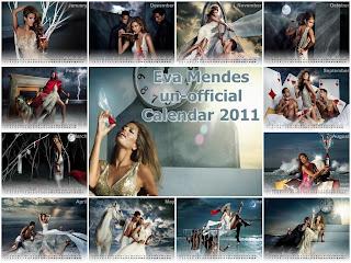 New Year 2011 Calendar, Hollywood Actress Eva Mendes Desktop Wallpapers