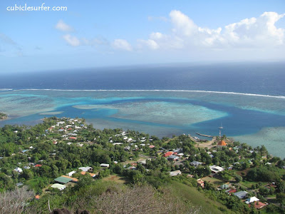 Papetoai, view from the mountain, Moorea, French Polynesia