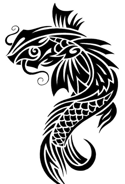 Koi fish tattoo black and white tattoo designs of animal for Black and white koi fish