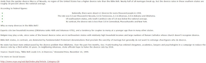 Bible Belt Leads U.S. In Divorces -2
