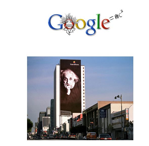 Google's Einstein logo -  Apple Einstein billboard