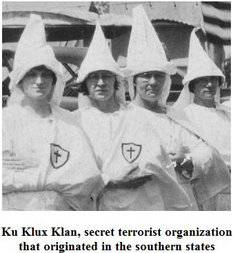 Ku Klux Klan, secret terrorist organization that originated in the southern states