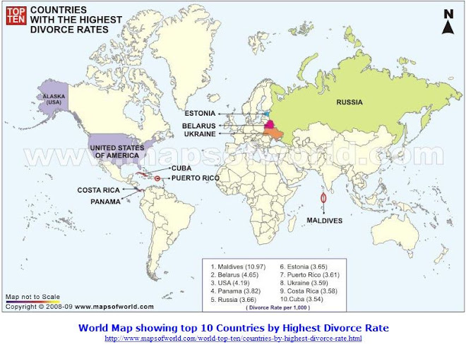 World Map showing top 10 Countries by Highest Divorce Rate