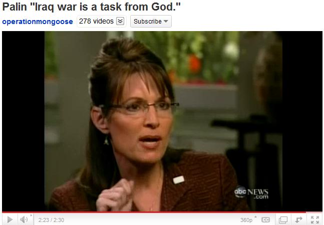 Palin - Iraq war is a task from God